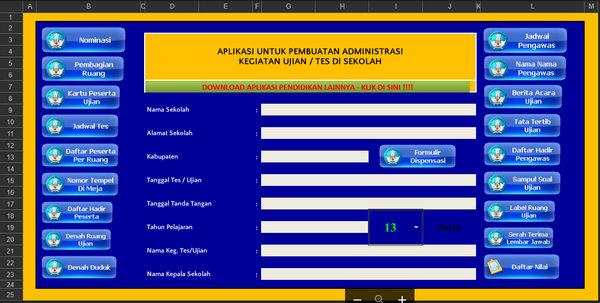 Aplikasi Administrasi Ujian di Sekolah Format Excel