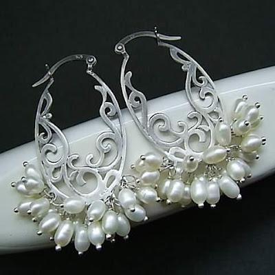 srebrne kolczyki ślubne retro z perłami kolczyki na ślub stylowa biżuteria ślubna