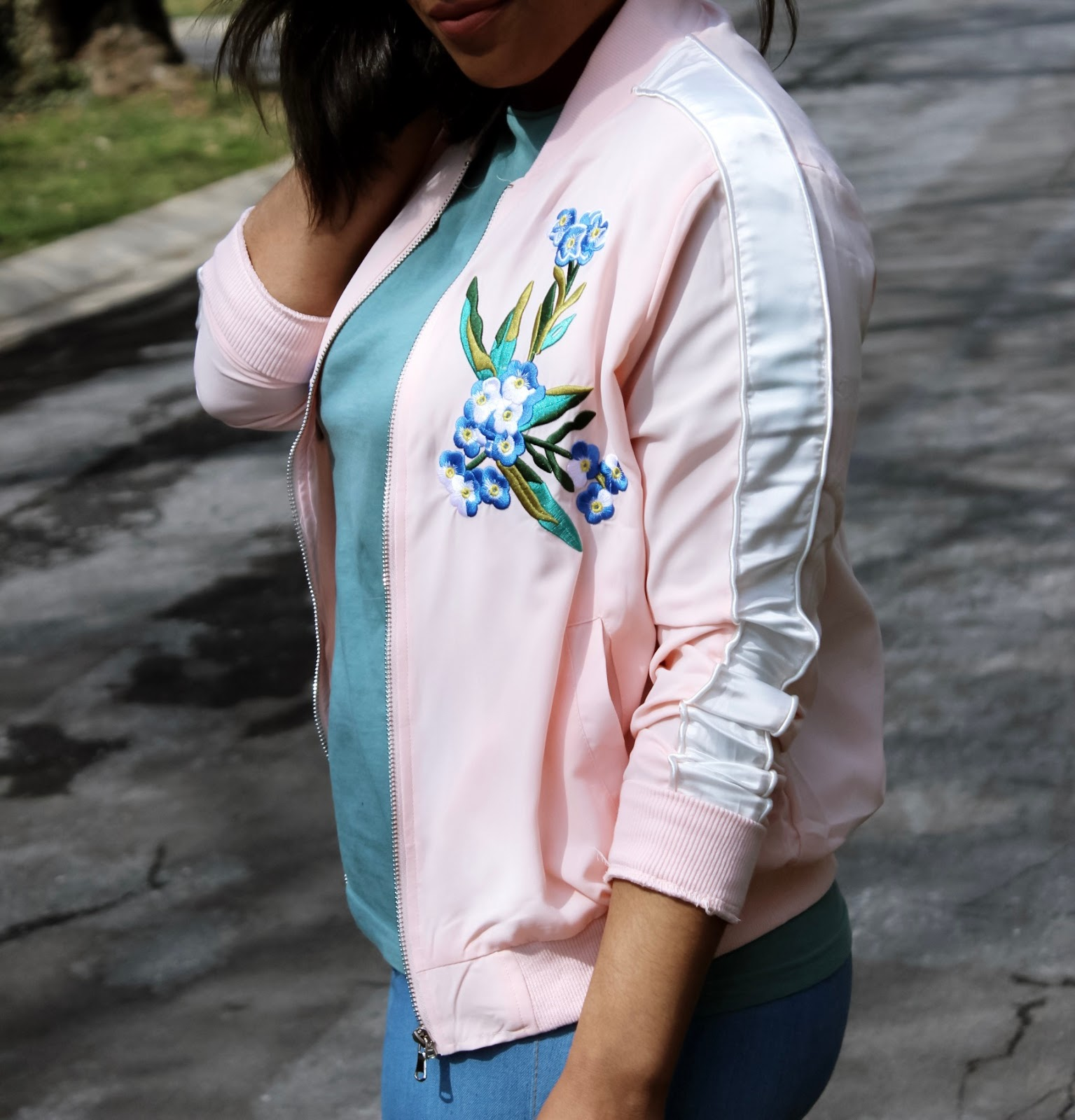 Cherry Blossoms in DC, Pink, spring, flowers, dc bloggers, embroidered jacket, pink bomber jacket, spring outfits