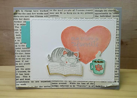Cat reading card by Naki Rager | Newton's Book Club Stamp set by Newton's Nook Designs #newtonsnook