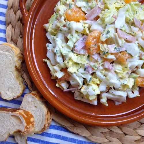 fruchtiger Chinakohlsalat mit Frischkäsedressing