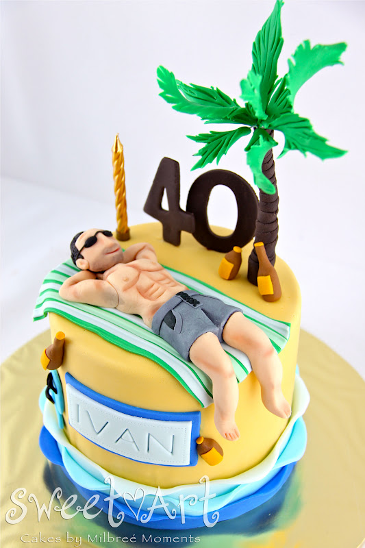 40th Birthday Cake Abs On The Beach