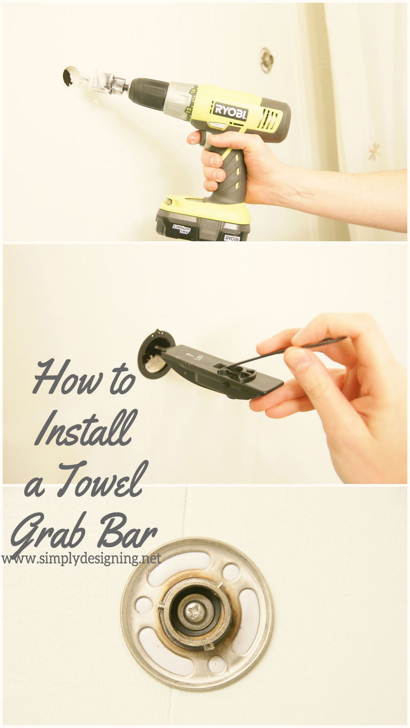 How to Install a New Towel Grab Bar | #diy #bathroom #bathroomremodel #remodel