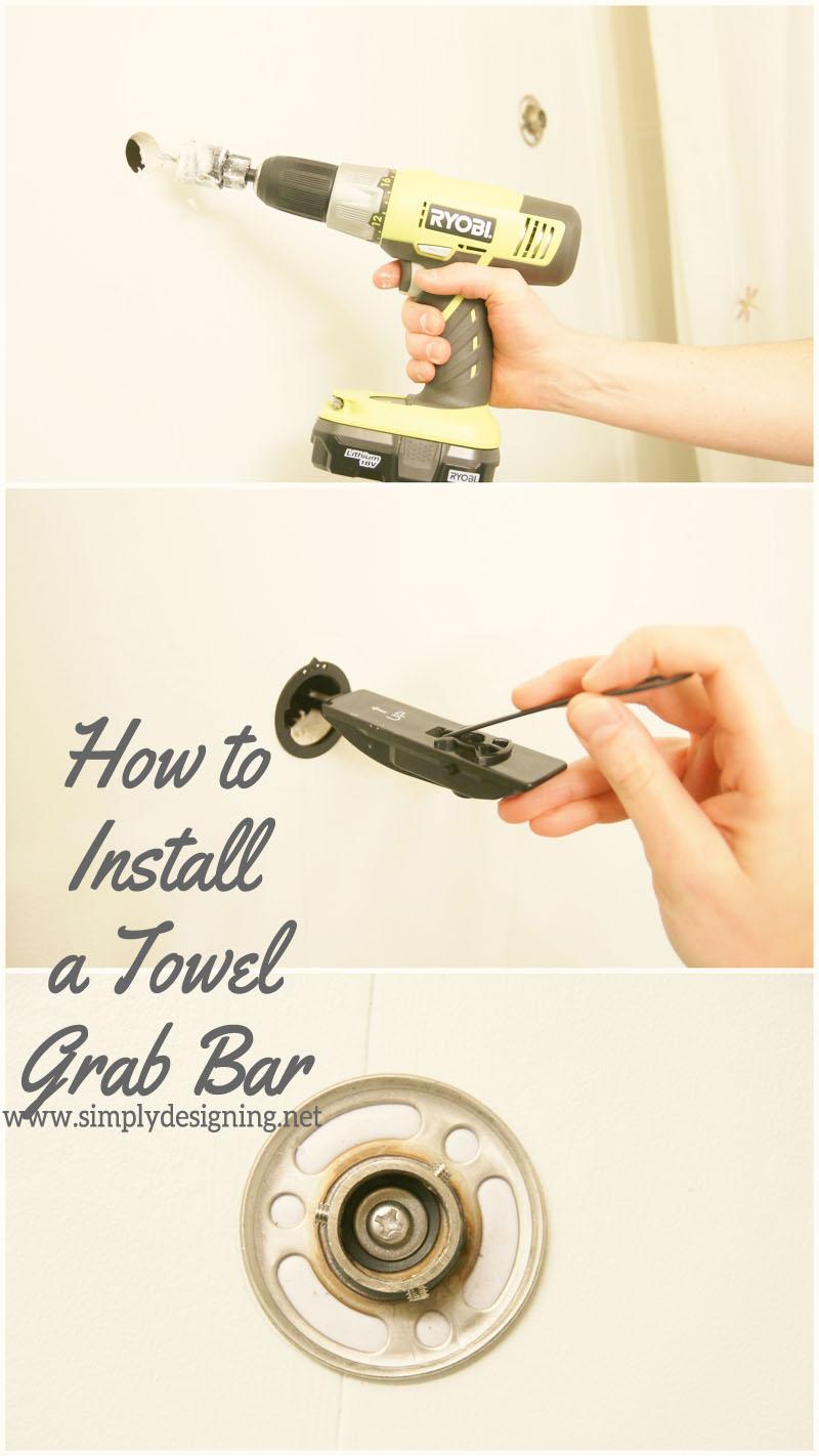 How to Install a New Towel Grab Bar | #diy #bathroom #bathroomremodel #remodel