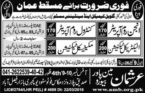 PaperPk Daily Jobs: Jobs in Oman, Muscat, Engine Room Operator