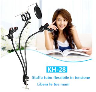 supporto staffa tubo flessibile per cellulare microfono kh-28