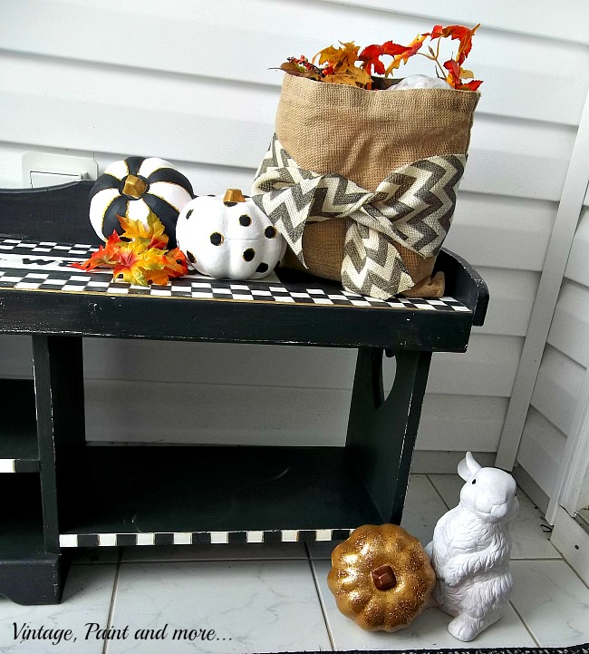 Vintage, Paint and more... black and white check bench with black and white fall decor