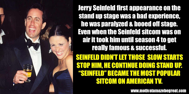 63 Successful People Who Failed: Jerry Seinfeld, Success Story, Booed off stage, Seinfeld sitcom, most popular sitcom