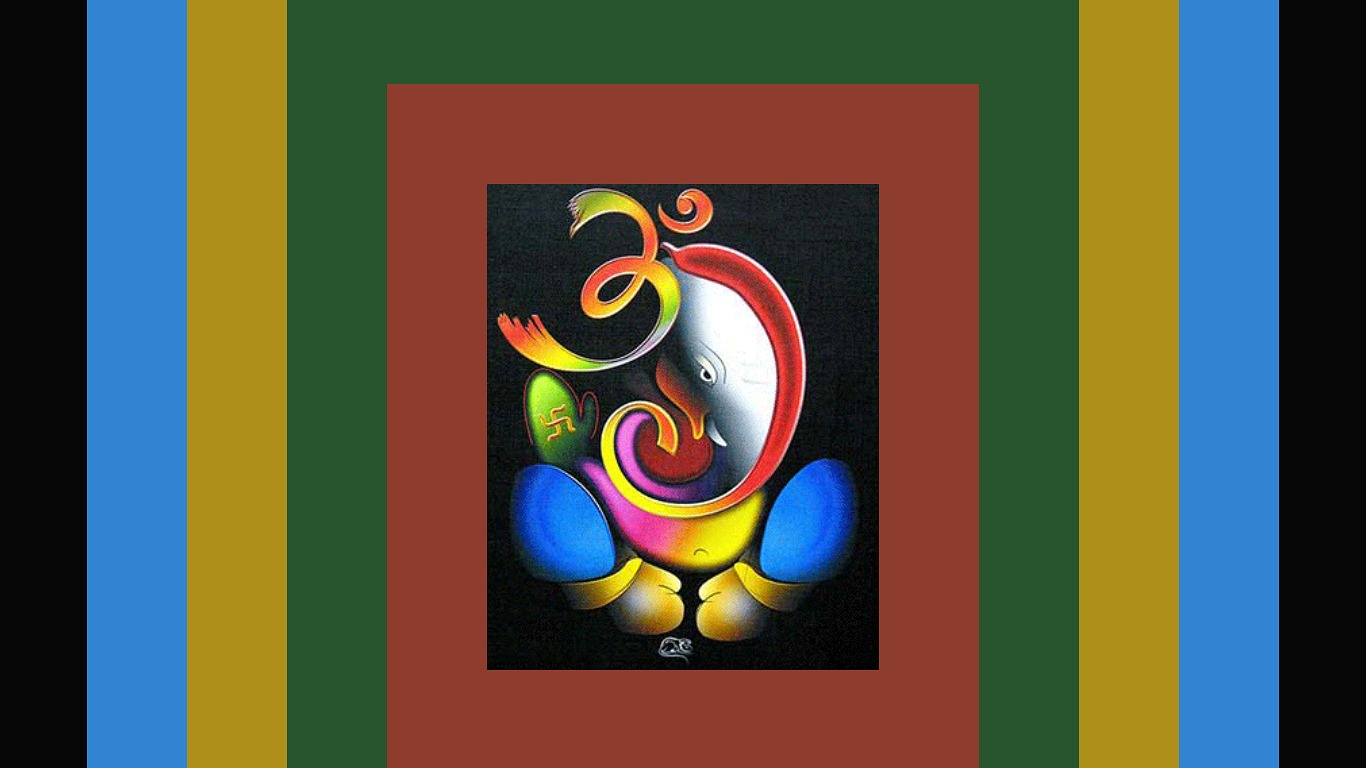 Lord ganesha multi color painting hd image - Abstract Ganesh God Wallpapers Widescreen Wallpaper 1366 X 768