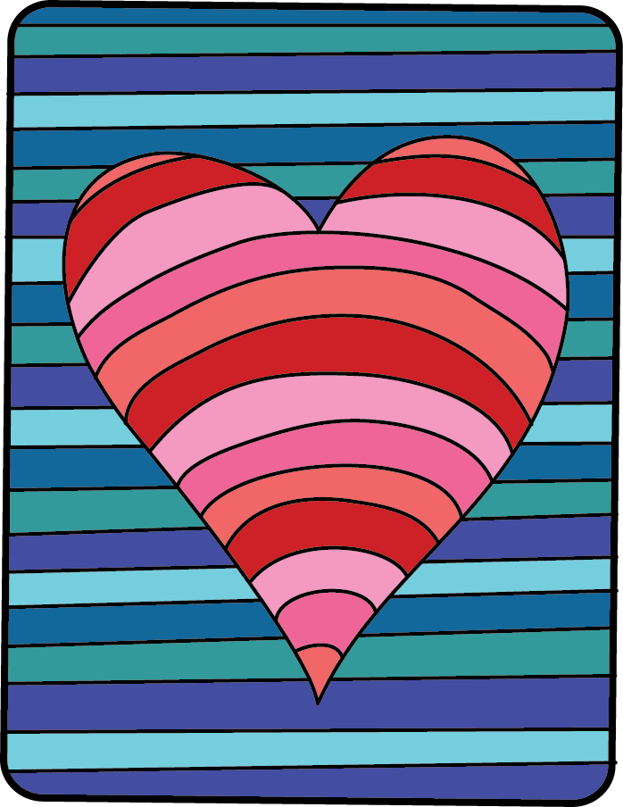 The Both Background And Heart Have A Pattern Of Monochromatic Colors This Would Be Great Way To Practice Color Scheme