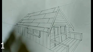 Outline drawn of house by using scale or pencils, how to draw house