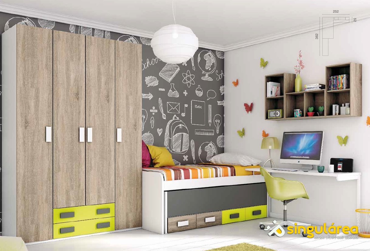Dormitorio juvenil bicama 1823 for Cama compacta infantil