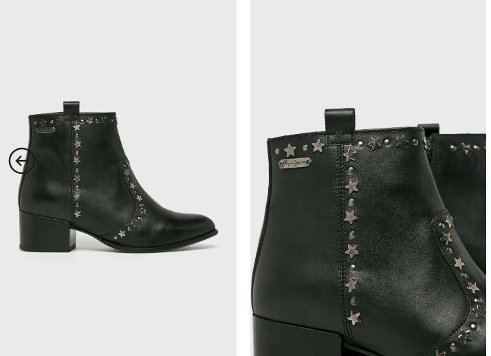 Pepe Jeans - Botine moderne din piele naturala de firma negre cu toc