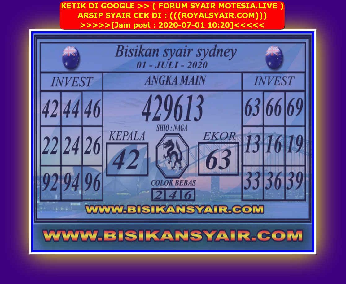 Kode syair Sydney Rabu 1 Juli 2020 140