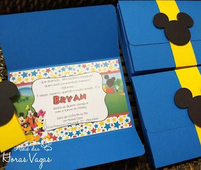 convite de aniversário infantil personalizado casa do mickey mouse 1 ano vermelho azul e amarelo