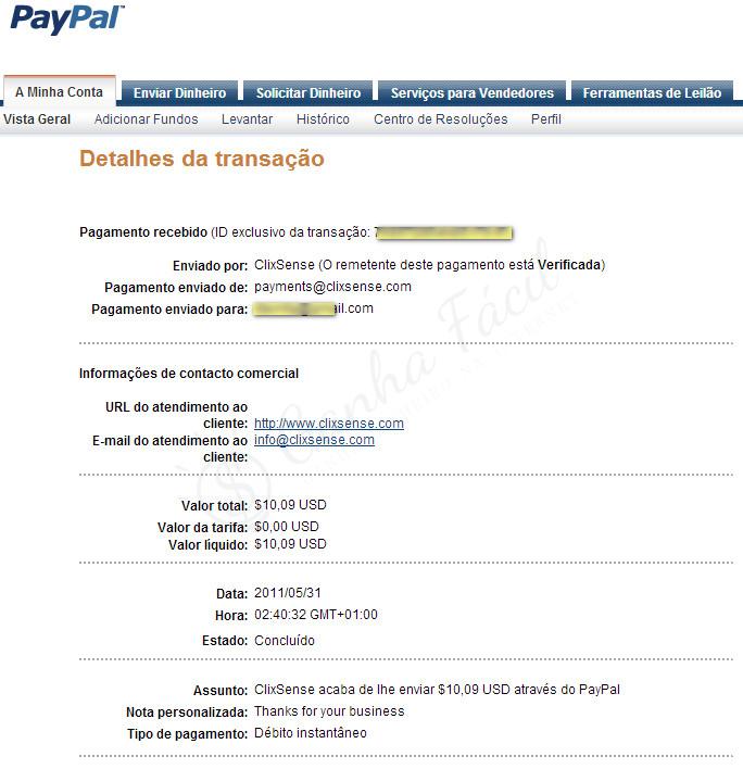 pagamento clixsense dinheiro paypal receber ganha ganhar
