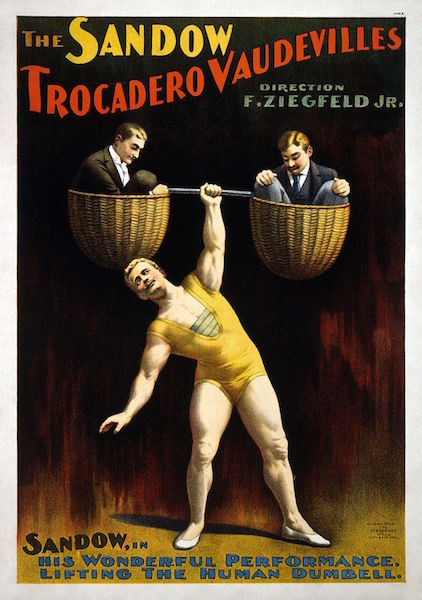 Poster showing strongman Eugen Sandow lifting two men, 1894