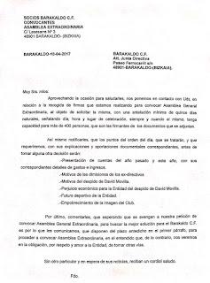 Escrito presentado con 400 firmas a la junta directiva