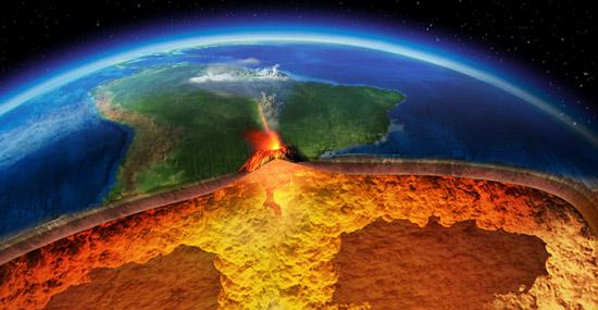 Vulcão em São Paulo visto do espaço