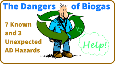 Image - cartoon suggests the dangers of biogas.
