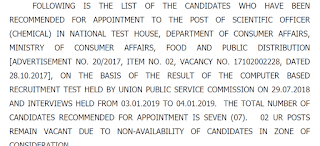 UPSC Scientific Officer (Chemical) in National Test House Final Result