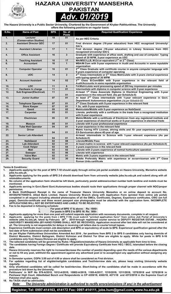 Hazara University Mansehra Latest Jobs 2019 For Lecturer, Assistant & others | 100 Vacancies Open