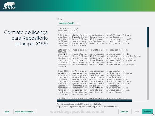 Leia e aceite o Contrato de Licença do openSUSE