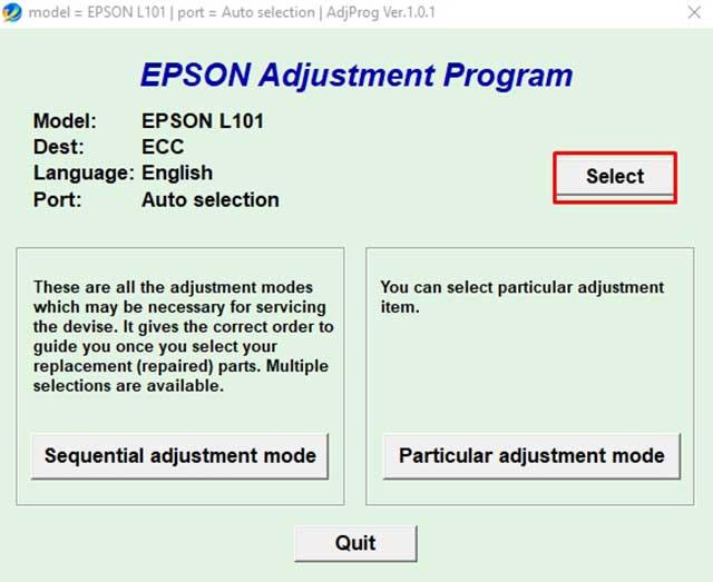 seleccionar modelo impresora epson l101