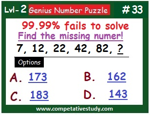 Number Puzzle: Find the missing number: 7, 12, 22, 42, 82, ?