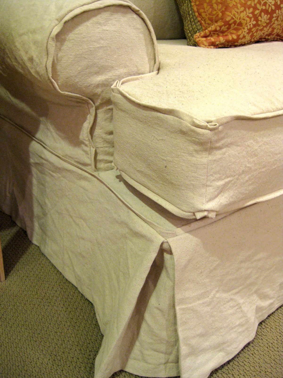 Drop Cloth Couch Chair and Ottoman with French Welt Slipcovers