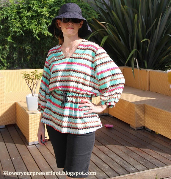 Burda_12_2014_#107_v-necked_drawstring_blouse