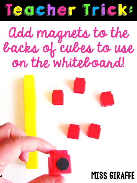 Add magnets to the back of math cubes to use for teaching on the whiteboard. Click for a ton more math teaching tricks!