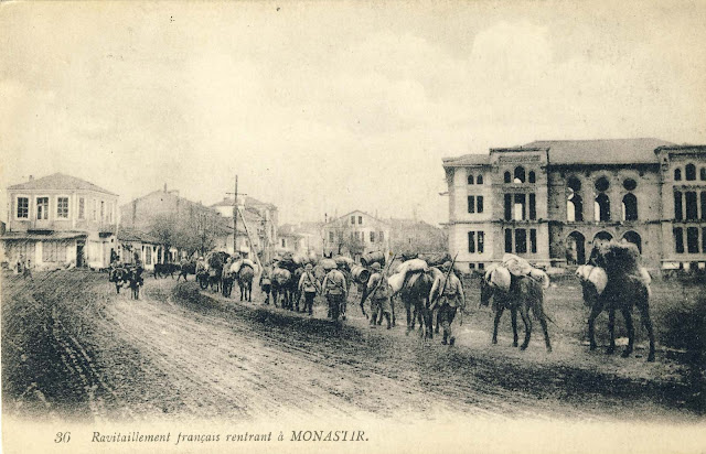 The entry of the French military Chamber in Bitola from south. On the right side of this postcard is seen the Officer's house which after the Balkan Wars and World War I remained unfinished.