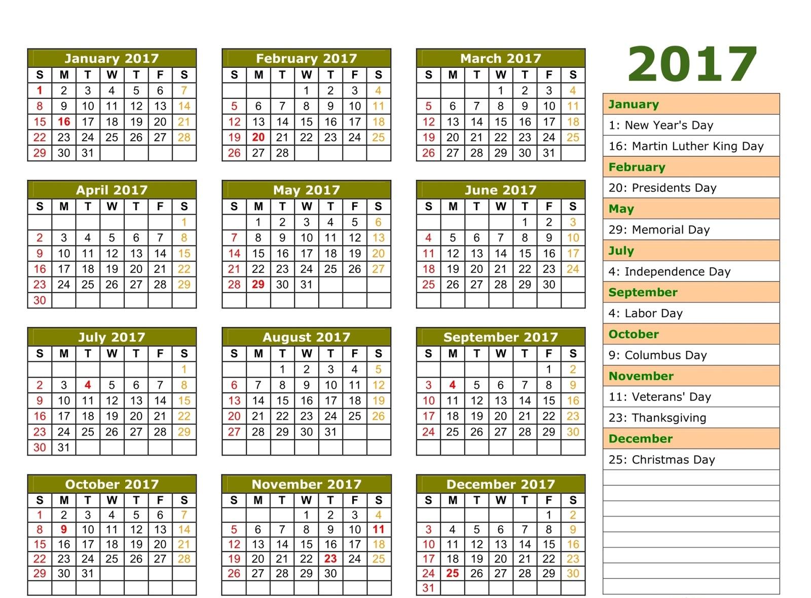 ... 2017 calendar with holidays, calendar 2017 with holidays, bank holiday