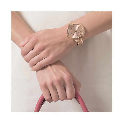 Slender Stick Inde Simply Style The Sunray Dial On A Slim Minimalist Watch With Large Face Balanced By Skinny Linked Bracelet