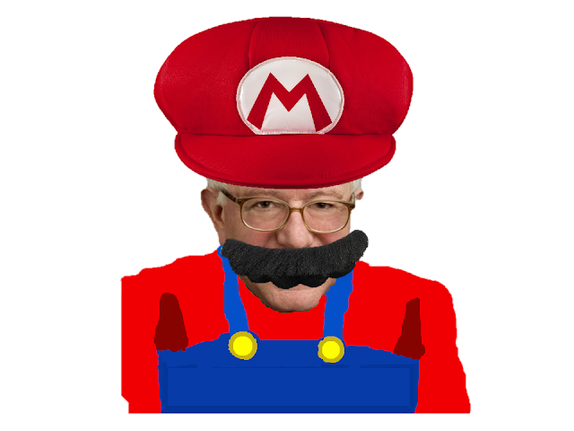 Bernie Sanders Mario outfit costume red hat blue overalls Nintendo Brooklyn