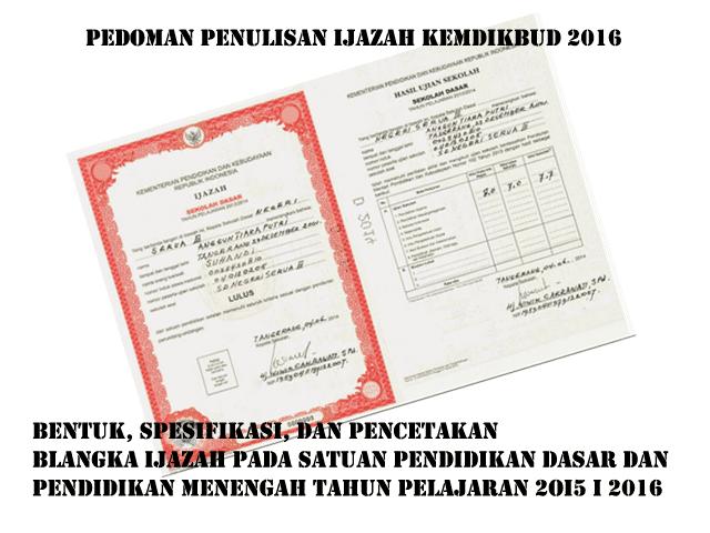 Download Pedoman Penulisan Blanko Ijazah 2016 SD, SMP, SMA