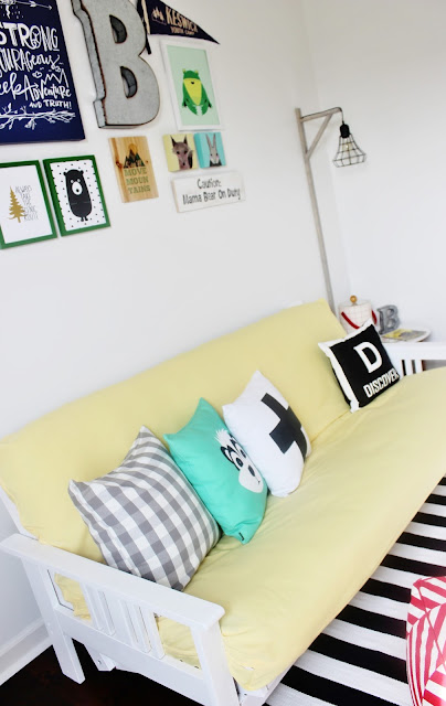 Futon Makeover in a Fun and Colorful Kid's Camp Themed Playroom by Delightfully Noted #oneroomchallenge