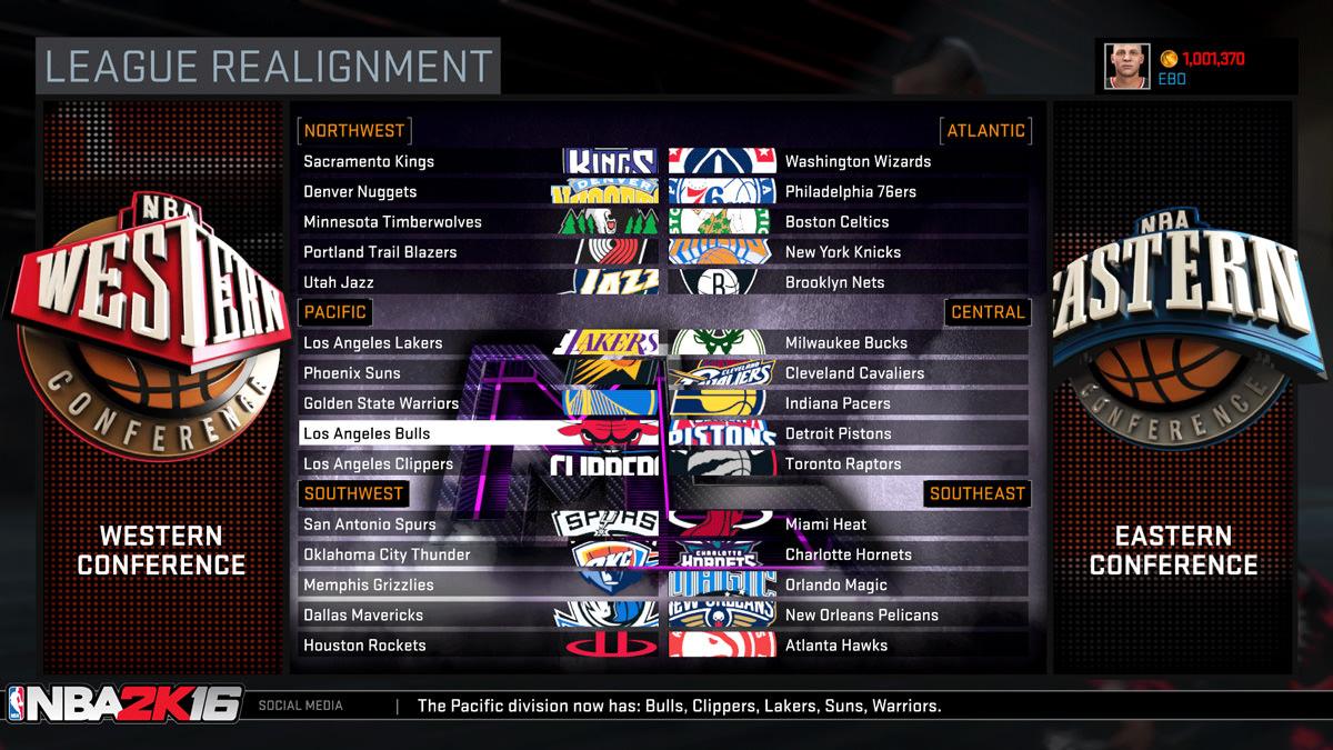 NBA 2k16 MyGM, MyLeague Modes : League Realignment