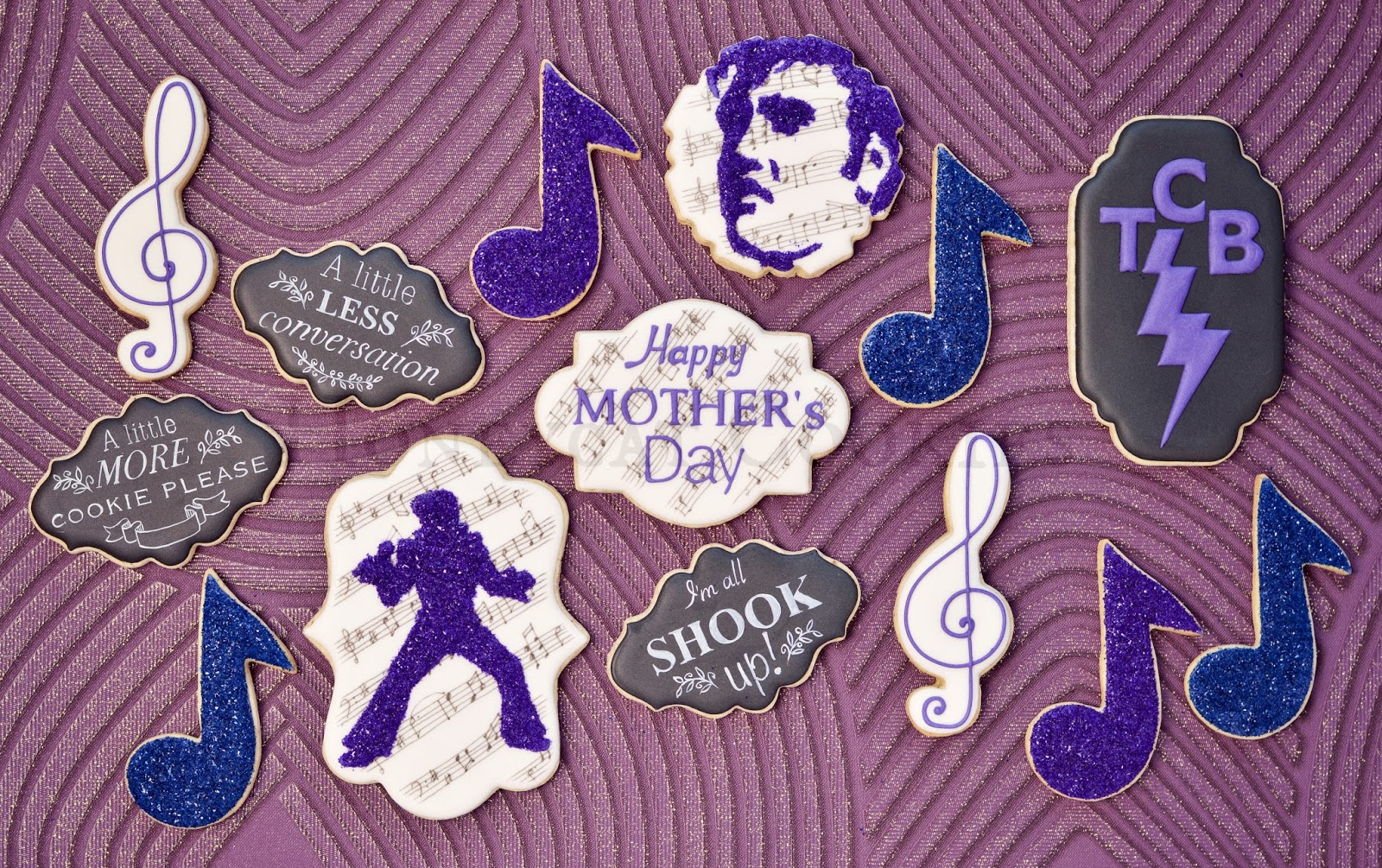 Full set of Elvis inspired Mother's Day cookies with purple and blue edible glitters, by Honeycat Cookies