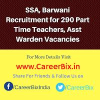 SSA, Barwani Recruitment for 290 Part Time Teachers, Asst Warden Vacancies