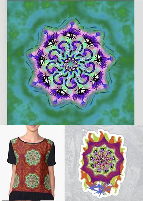 Spider Eye Mandala and Spider Eye Splat by Susan Phillips Hicks of Melasdesign