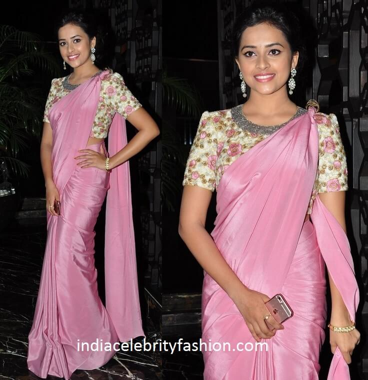 Sri Divya in Plain Satin Saree with Designer Blouse