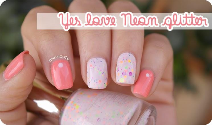 Yes Love Neon Glitter nail art