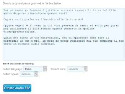 Convertire testo in mp3 online