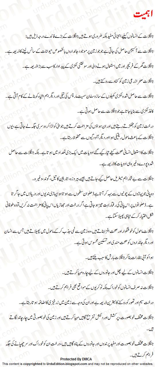 Forest Essay In Urdu Importance of Forests Urdu Essay