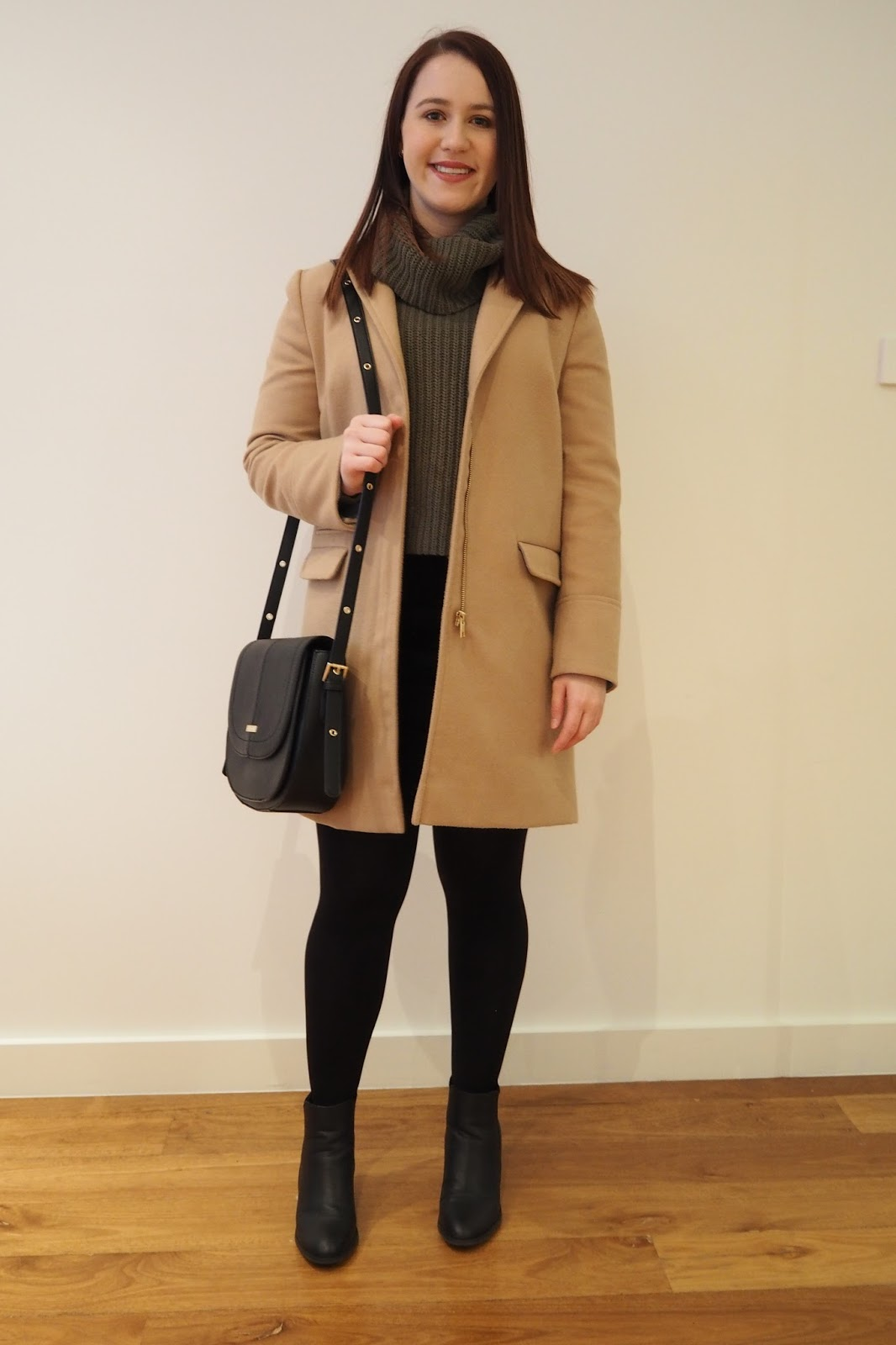 winter outfit, fall outfit, autumn outfit, olive roll neck knit, black cord skirt, black ankle boots, camel coat