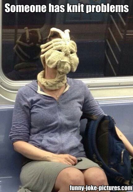 Alien knitting woman train picture