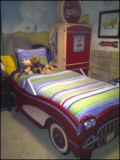 Batman Themed Bedroom Set 3ft Bed Frame Bookcase Toy Box: Vintage Corvette Car Beds