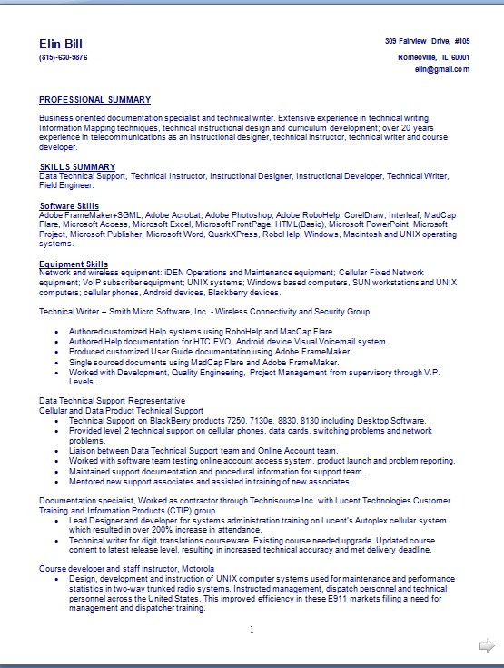 technical writer resume building format in word free